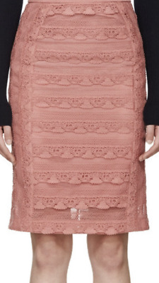 f759bb7961686f NWT Burberry Prorsum Summer 2016 Sugar Pink Tiered French Lace Skirt IT38