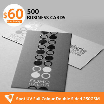 500 * Spot UV Business Cards with Double Sides Laminated