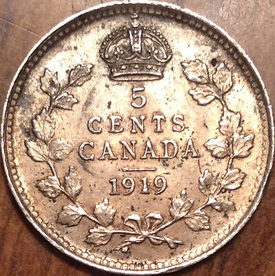 1919 Canada Silver 5 Cents Near Uncirculated