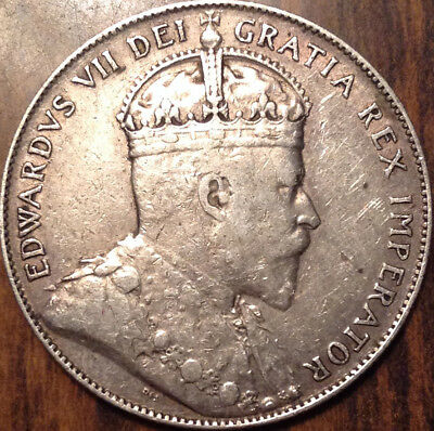 1909 Nfld Newfoundland Silver 50 Cents Fifty In Great Condition !!