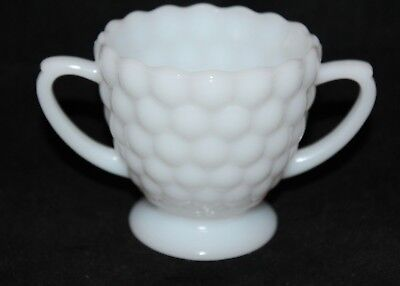 White Milk Glass Hobnail Double Handle Footed Sugar Bowl  Fenton Anchor-Hocking