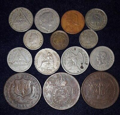 14 Coins from South and Central America.  1875-1922.  No Reserve!!!