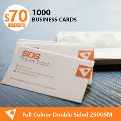 1000 Business Cards Full Colour Double Sided 250GSM Thick+ Free Design