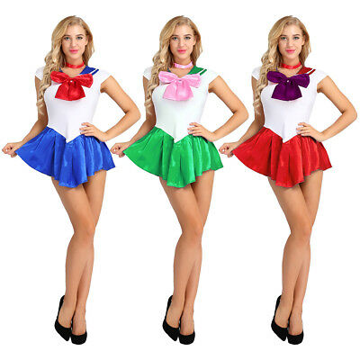 Sexy Women Sailor Moon Cosplay Dress Skirt Suits Maid Outfit Set Uniform Costume