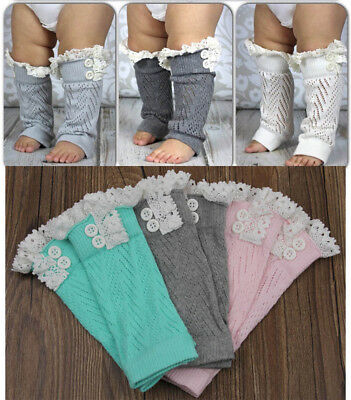 AU Baby Boys Girls Lace Socks Crawling Protective Knee Knitted Cotton Leg Cover