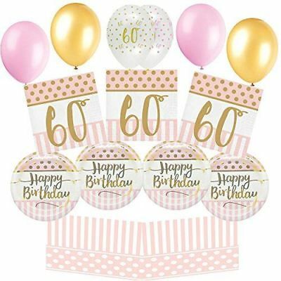 Pink Chic Happy 60th Birthday Gold Decoration Tableware Party Pack