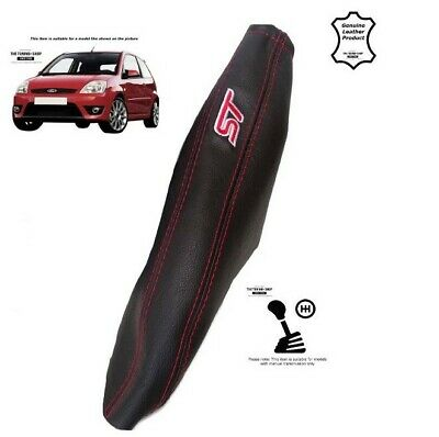 Handbrake Gaiter For Ford Fiesta 2002-2008 Leather Red Embroidery