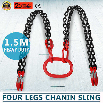 5FT Chain Sling with quad Legs 5ton Capacity Fork Head Hook  t8 Level Lever