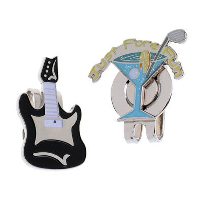 2Pcs Alloy Magnetic Golf Ball Marker with Hat Clip Golf Accessory Gift