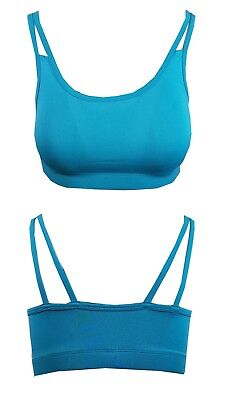 Ladies F+F Active Tesco Turquoise Sports Bra Non Wired Yoga Unpadded Crop Top