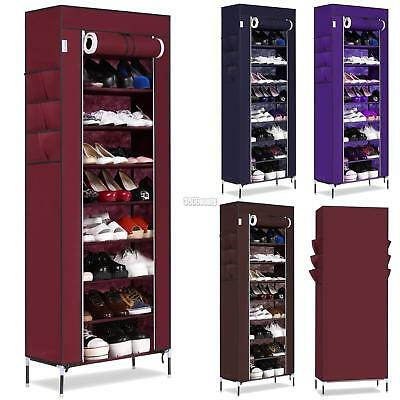 10-Tier Shoe Rack 50 Pair Wall Bench Shelf Closet Organizer Storage Box Stand  O