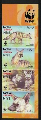 Eritrea WWF Aardwolf 4v Right Imperforated strip WWF Logo SG#488-491 SC#350 a-d
