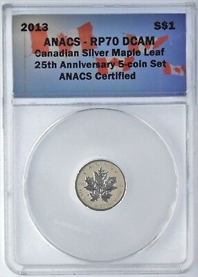 2013 $1 Canadian Silver Maple Leaf RP70 25th Anniversary (1 piece of 5 coin set)