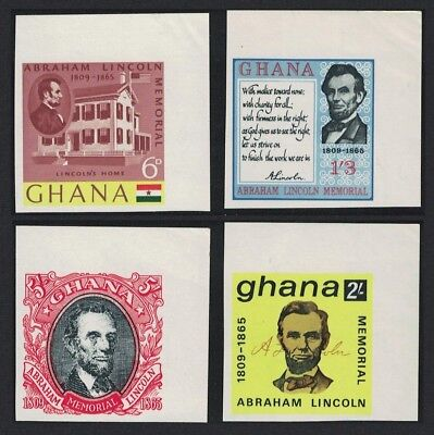 Ghana Death Centenary of Abraham Lincoln 4v Imperforated Corners SG#373-376