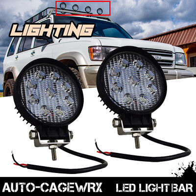 2x 4inch Round LED Pod Fog Lights Bumper Roof For Truck Jeep Isuzu Off Road ATV