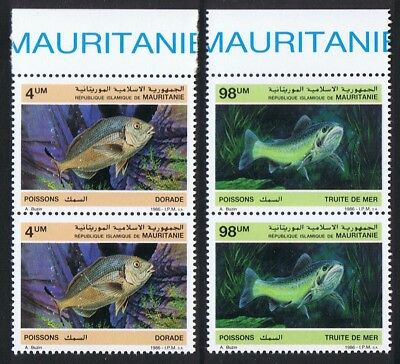 Mauritania Fish 2v issue 1986 in pairs with Top Margin SG#874+877 SC#614-615