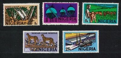 Nigeria Cheetah Gas Cattle Docks Definitives 5v Watermark SG#338=349