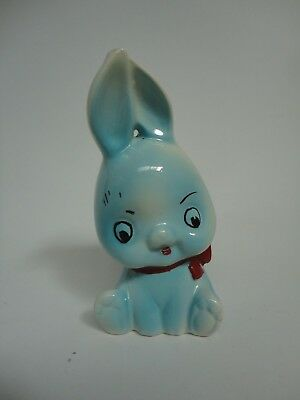 Vintage R Moss Ltd 1027 Ceramic Moneybox Blue Rabbit Collectable A2