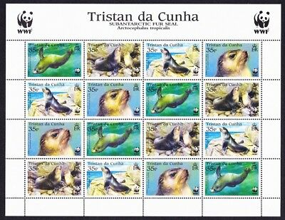 Tristan da Cunha WWF Subantarctic Fur Seal Sheetlet of 4 sets SG#800-803