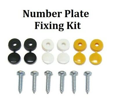 """Number Plate Fixing Kit with Black Yellow White Cover Caps and 3/4"""" Screws"""