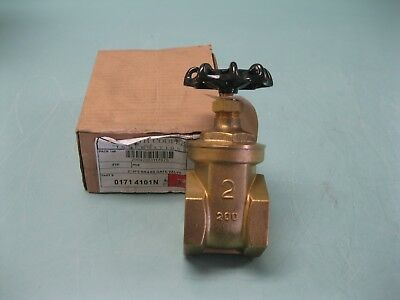 "Lot (2) 2"" NPT Smith Cooper 200# Brass 171 4101N Gate Valve NEW A17 (2317)"