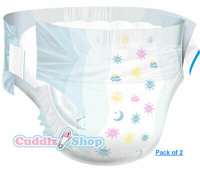 2 Cuddlz Size Medium Adult BrightDayz Pattern Incontinence Nappies Nappy Diaper
