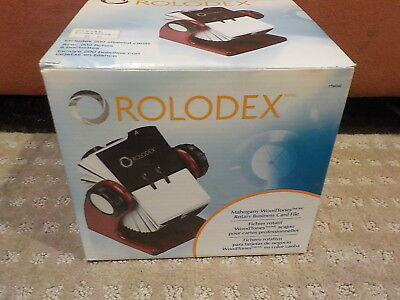 """6-13/16"""" Rotary Card File Mahogany Rolodex 1734242 Includes 200 Sleeved Cards"""