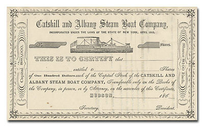 Catskill and Albany Steam Boat Company Stock Certificate (1860's)