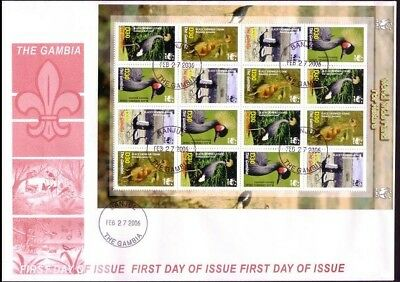 Gambia Birds WWF Black Crowned Crane FDC Sheetlet of 16 stamps / 4 sets
