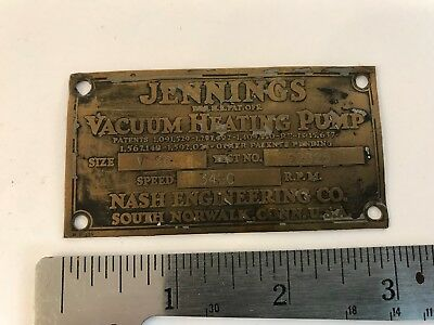 Vintage Copper Jennings Vacuum Heating Pump Emblem Badge Name Plate Sign HD12