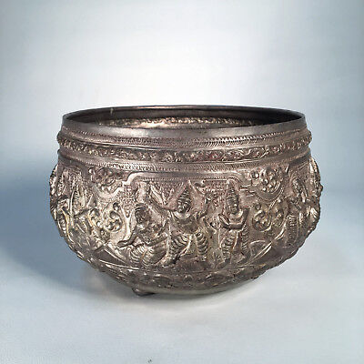 THAI SILVER BOWL Burmese Antique Southeast Asian Antique Betel Box Repousse 418g