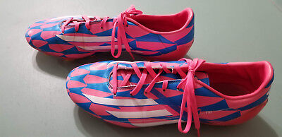 best authentic 7c03c d7391 adidas Mens F10 Messi Soccer Cleats Boots Moulded Studs White Hot Pink Blue  11.5