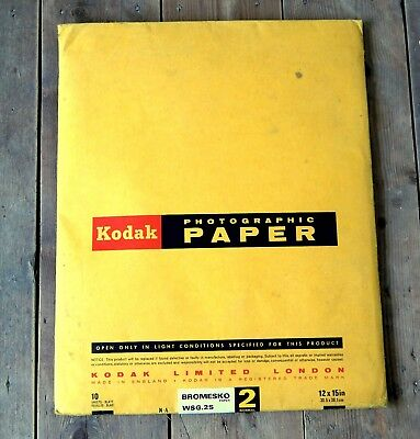 Vintage Pack Kodak Photographic Photo Paper Unused 10 Large Sheets 12 x 15 inch