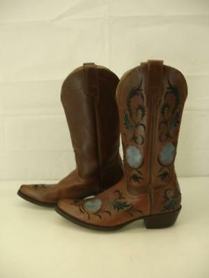7c342476d44b Womens 6.5 B M Shyanne Floral Embroidered Western Boots Brown Leather Snip  Toe