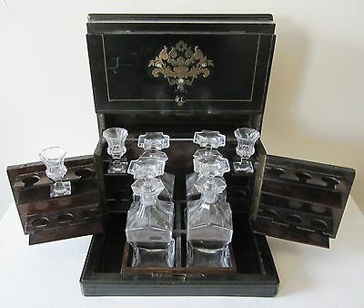 Antique French 2nd Empire Napoleon III Decanter Tantalus Liquor Cabinet Boulle
