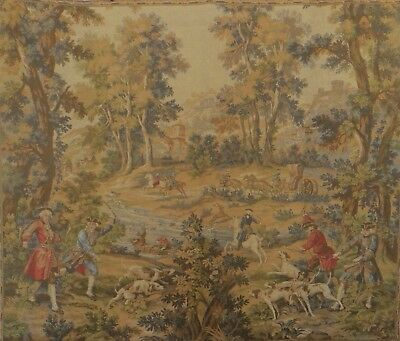 French Vintage Hunting Scene Tapestry By Jp Paris Gobelins 177.5 Cm By 148.5 Cm