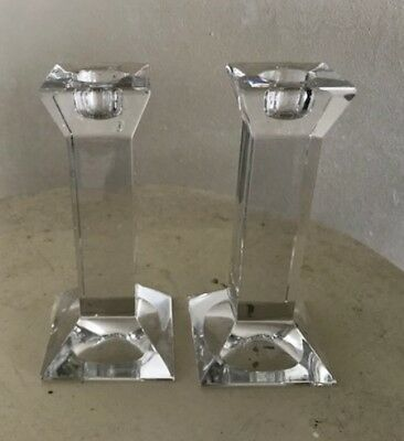"""Set of 2 Villeroy & Boch Crystal Candle Holders Contemporary, Mint Cond. 6"""" tall"""
