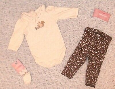 b6d9e39b4 Nwt Gymboree Girls Size 3 6 Months Squirrel Top Leggings & Socks Outfit New