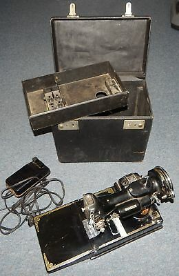 Vintage 1936 Singer Featherweight 221 Scroll Face sewing machine w/ case R17714
