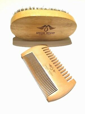 Angie Wood Beard Brush & Beard Comb Kit Natural Handmade Beard Comb,Boar Bristle