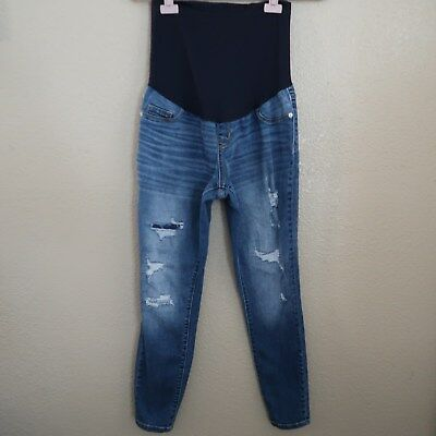 Liz Lange For Target Size XS Cropped Maternity Jeans Destroyed Distressed