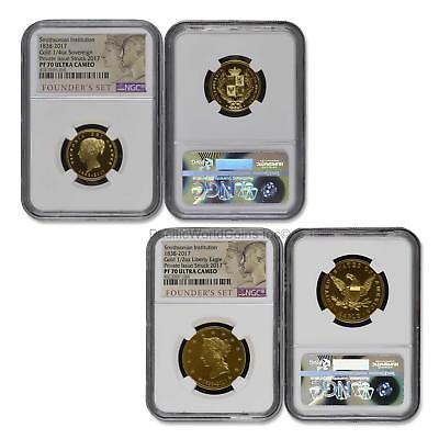 USA Smithsonian institution 1838 2pc Gold NGC PF 70 Founder's Set SKU# 6519