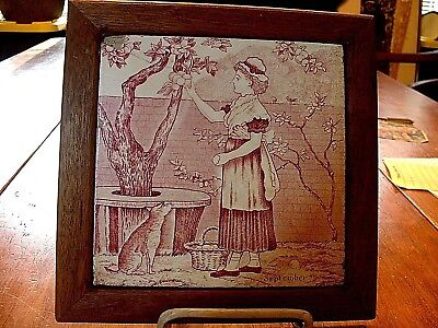 "Antique 1870's Josiah Wedgwood Art Pottery Tile ""September"""