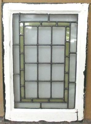 MIDSIZE OLD ENGLISH LEAD STAINED GLASS WINDOW Tidy Geometric Abstract 17 x 24.25