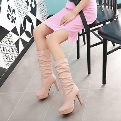 c13ce2ff15991 Women s Ladies leather Riding Boots Mid Calf Block Heel Platform Winter  Shoes