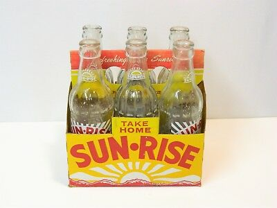 Vintage 6-Pc Carton Of Sun-Rise Soda Pop Bottles!