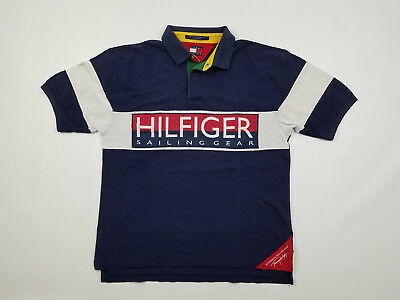 cae6127c Tommy Hilfiger Sailing Gear Polo Men's Large Chest Spell Out Rare Vintage  90s