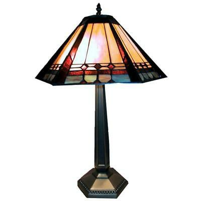 """Multi-Colored Empire Shade Lamp 25"""" Tall Classic Style Lighting Brass Base Light"""