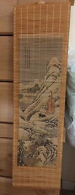 Hanging Wall Scrolls - Oriental - Vintage - Lot of 2 - Rattan Cane Wood