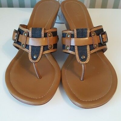 0882529ae3c COLE HAAN LEATHER   Denim Thong Sandals Buckle 9 -  35.00